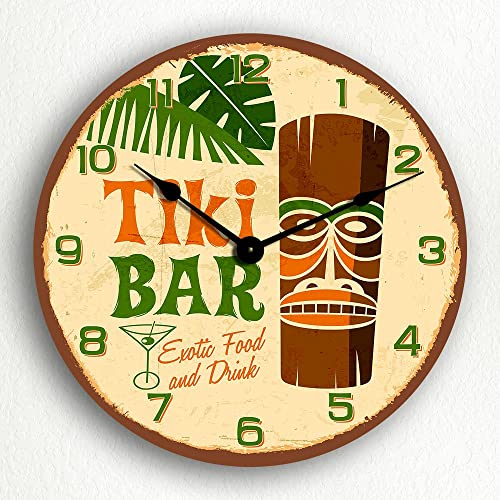 Tiki Bar Retro Tropical Polynesian Themed 12 Silent Wall Clock
