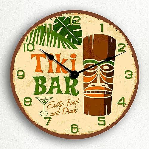 Tiki Bar Retro Tropical Polynesian Themed 12 Silent Wall Clock