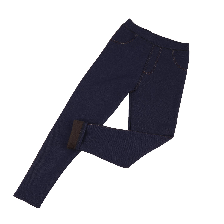 HERRICO Large Yards Plus Velvet Thick Imitation Cowboy Leggings Women Warm Feet Pants (XXXL, Blue)