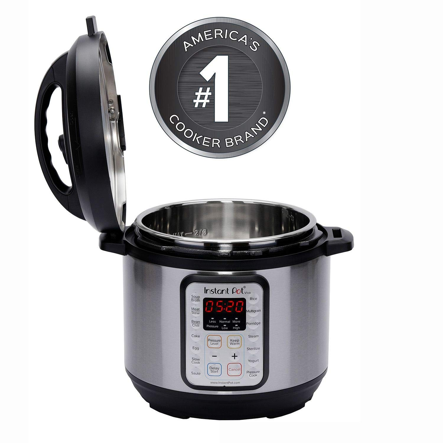 New Instant Pot 8 QT Viva 9-in-1 Multi-Use Programmable Pressure Cooker with recipe book