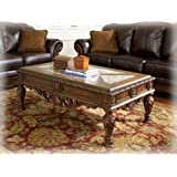 ashley furniture signature design north shore coffee table cocktail height rectangular dark - North Shore Living Room Set