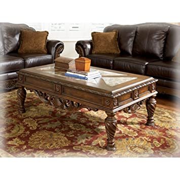 Ashley Furniture Signature Design   North Shore Coffee Table   Cocktail  Height   Rectangular   Dark