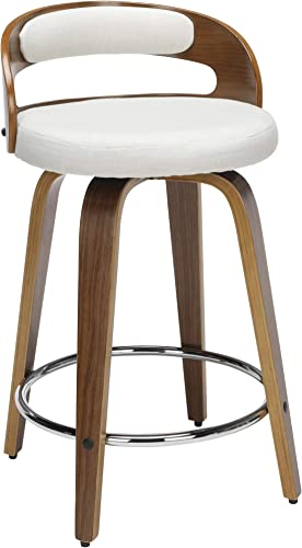 OFM 161 Collection Mid Century Modern 24 Low Back Bentwood Frame Swivel Seat Stool with Fabric Back and Seat Cushion, in Walnut Beige 161-WF24C-BGE