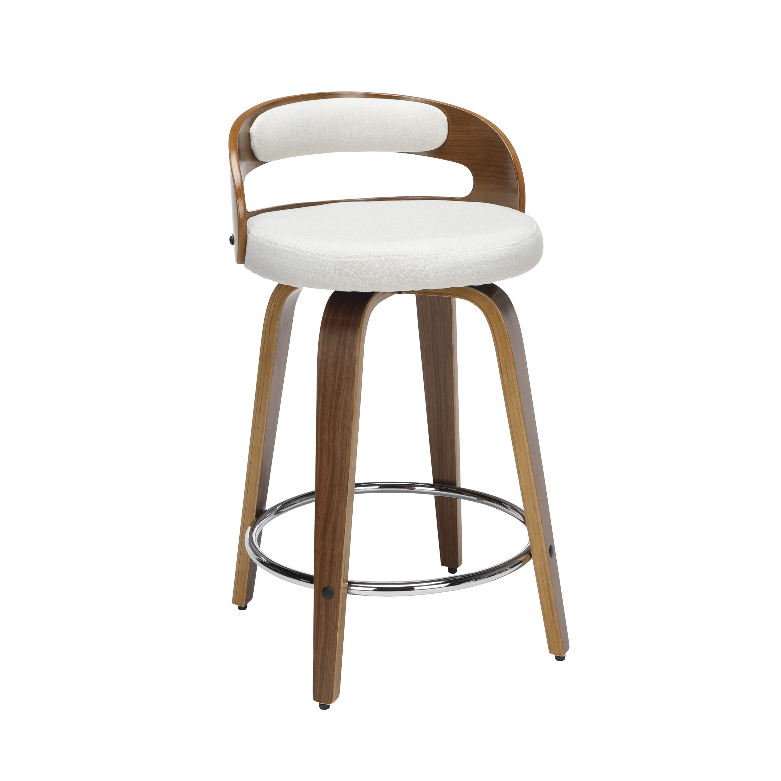 OFM 161 Collection Mid Century Modern 24'' Low Back Bentwood Frame Swivel Seat Stool with Fabric Back and Seat Cushion, in Walnut/Beige by OFM