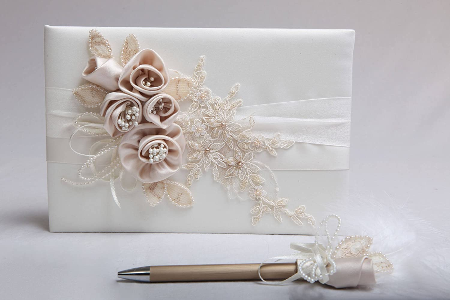Ivory wedding guest book, Satin and lace applique guestbook, Blush ...
