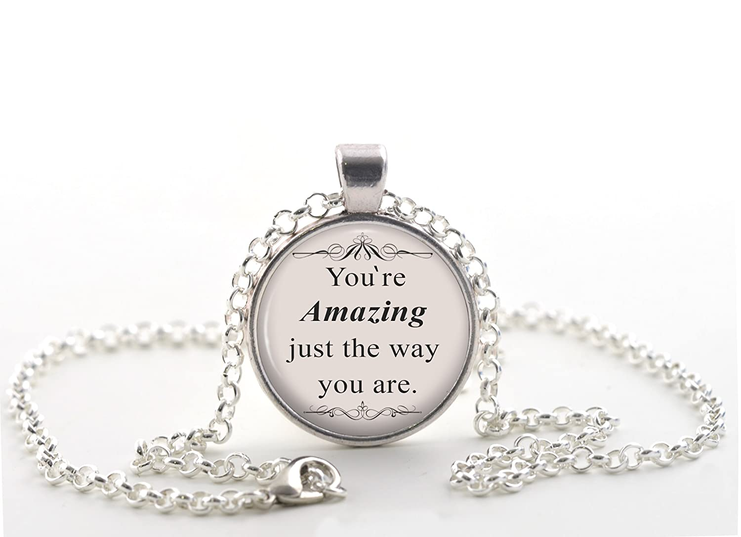 Bruno Mars Quote Necklace Silver Jewellery Gift Ideas For Friends Just The Way You Are Music