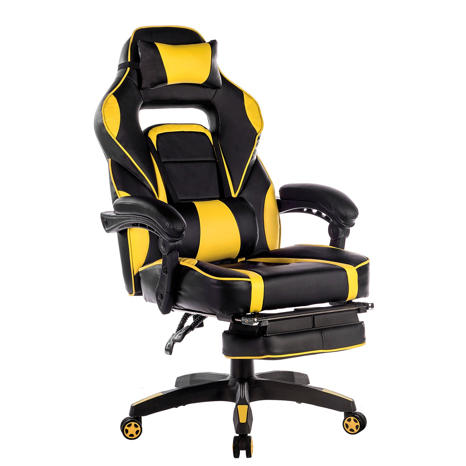 Merax High-Back Racing Home Office Chair, Ergonomic Gaming Chair with Footrest, PU Leather Swivel Computer Home Office Chair including Headrest and Lumbar Support (yellow)