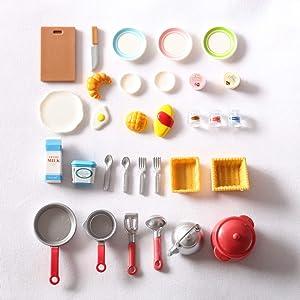 DeRu 1:12 Scale Miniature Accessories Mini Ktchen Tableware Dollhouse Decoration Accessories Play Food Set for DIY Decoration… (31PCS)