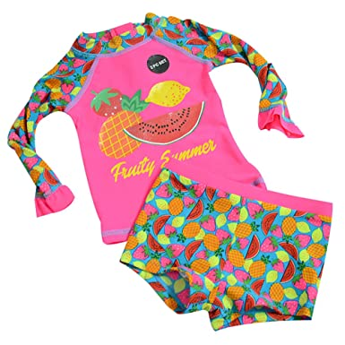 c37167d208 Baby Infant Toddler Girls Two Piece Bathing Suits Swimwear Long Sleeve  Brilliant Fruit Rash Guard Sets