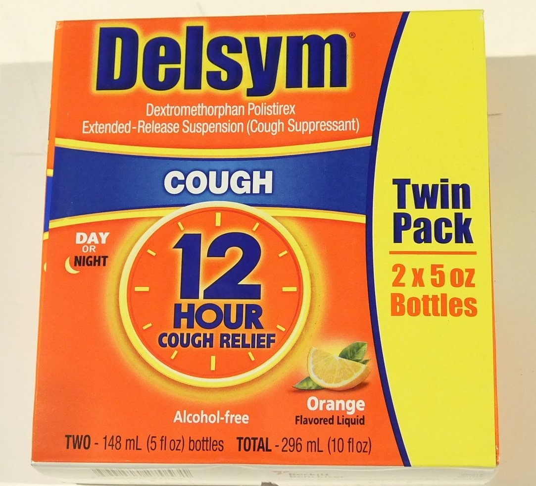 Delsym Cough Suppressant Alcohol Free Orange Flavored Liquid- 2 Pack, 5 ounces Bottle by Delsym