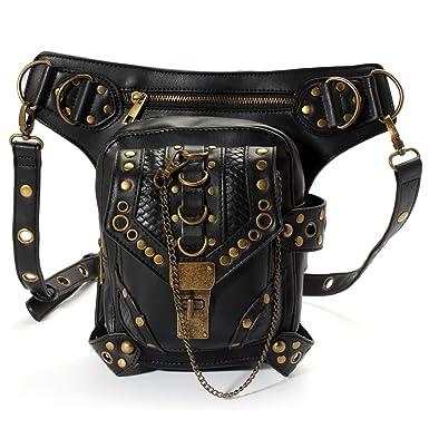 e19499c60af OURBAG Retro Women Steampunk Belt Bag Waist Leg Hip Holster Purse Pouch  Packs Black Medium