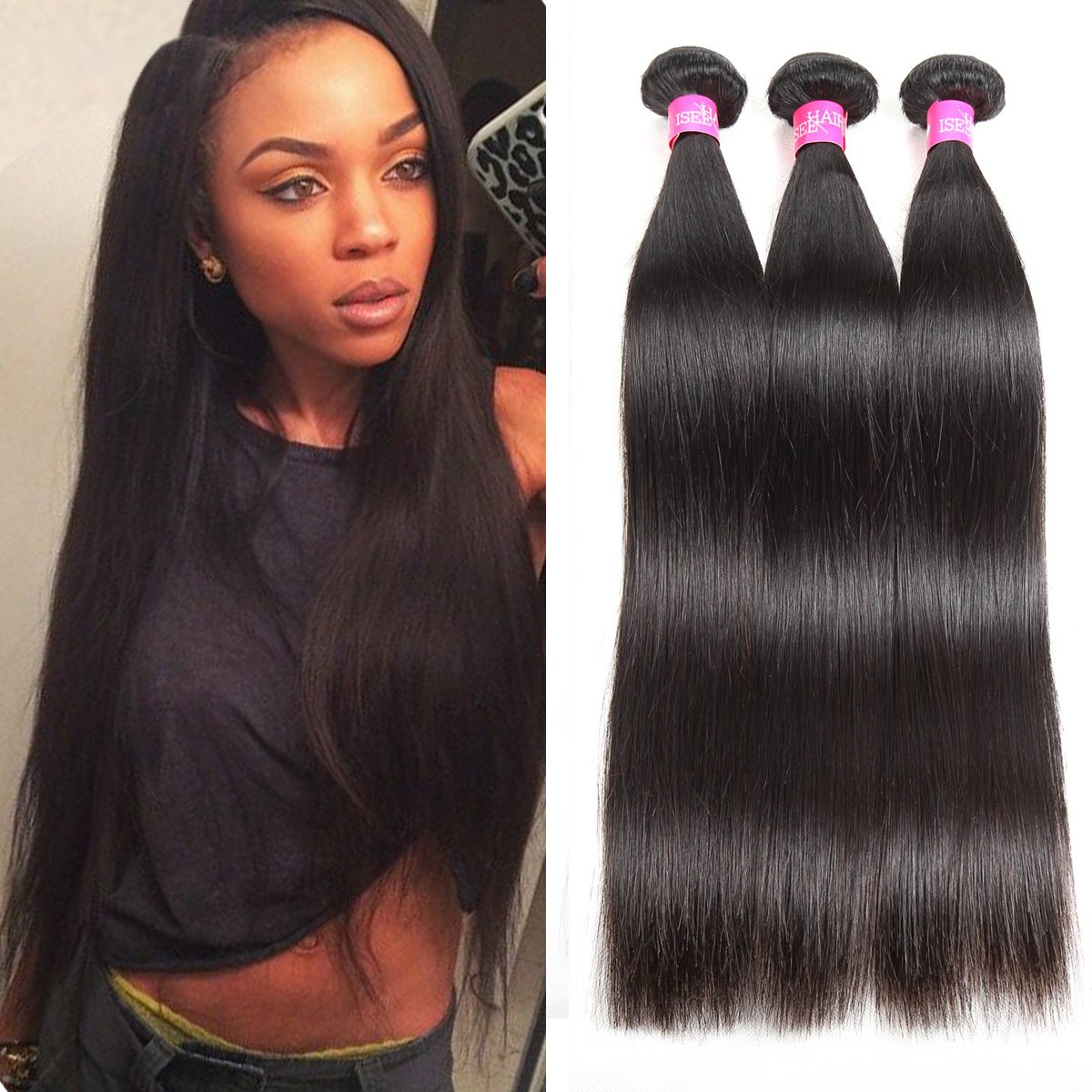 ISEE Hair 8A Malaysian Virgin Straight Hair 3 Bundles 100% Unprocessed Human Hair Weave Bundles Human Hair Extensions 3 Bundles Deal Natural Black 18inches by ISEE