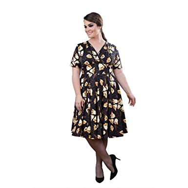 5ab42ad971b Emily London Womens Plus Size Emily Surplice Midi Swing Dress Navy   Beige  at Amazon Women s Clothing store