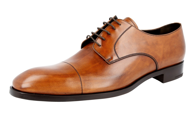 Prada Men's 2EB120 Brown Leather Business Shoes EU 11 (45)/US 12