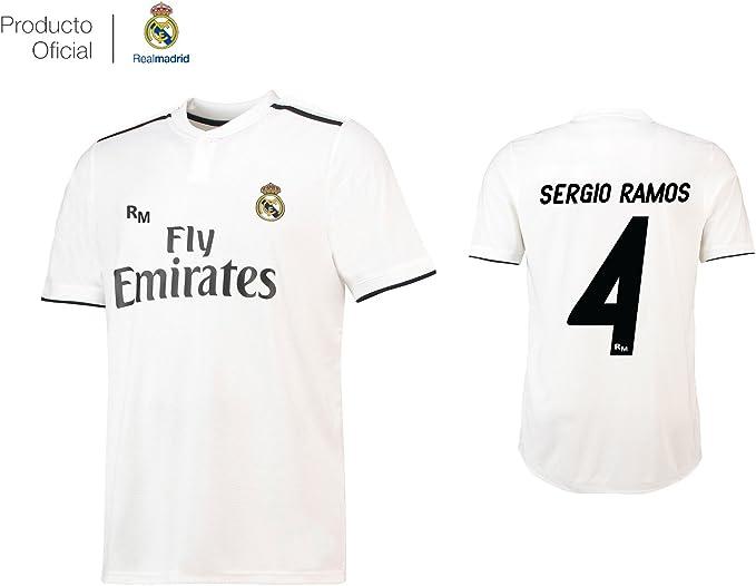 Real Madrid CF Camiseta 1ºEQUIPO Sergio Ramos Real Madrid 2018-2019 Adulto (L)