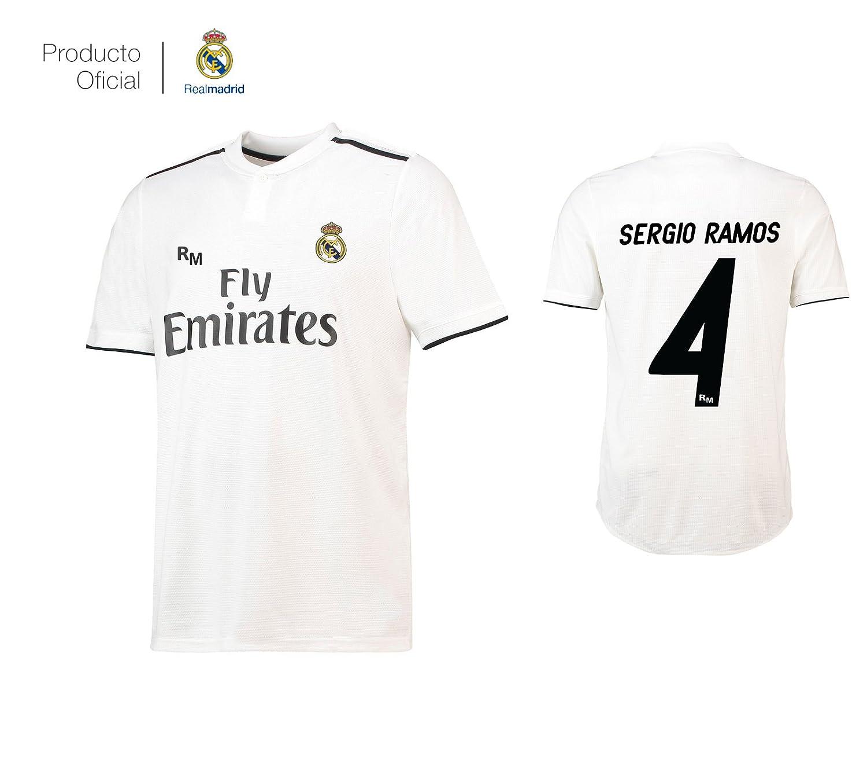 Real Madrid C.F... Camiseta 1ºEQUIPO Sergio Ramos Real Madrid JR 2018-2019  Adulto-Incluye Cinturón Durabol  Amazon.es  Deportes y aire libre 1d72f3d3cc2d7
