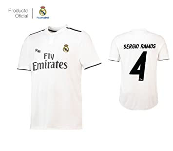 385471be Real Madrid C.F... Camiseta 1ºEQUIPO Sergio Ramos Real Madrid JR 2018-2019  Adulto-Incluye Cinturón Durabol: Amazon.es: Deportes y aire libre