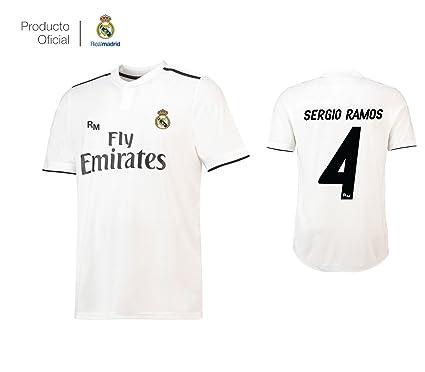 ed1aa4a36d32c Real Madrid C.F. Camiseta 1ºEQUIPO Sergio Ramos Real Madrid 2018-2019 Adulto -Incluye Cinturón