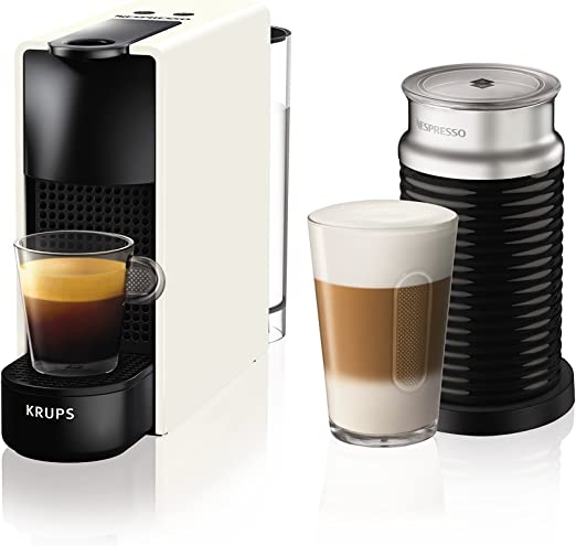Krups Essenza Mini - Nespresso (1200 W), color negro Essenza, Mini, con Aeroccino 20.4 x 8.4 x 33 cm Blanco: Amazon.es: Hogar