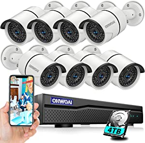 [Expandable 5MP&Audio] 4K 8 Channel Poe NVR Security Camera System,8pcs 5MP Poe Camera,Home Video Surveillance System Poe,OHWOAI Wired Indoor&Outdoor Poe Security IP Camera,4TB HDD,24/7 Recording