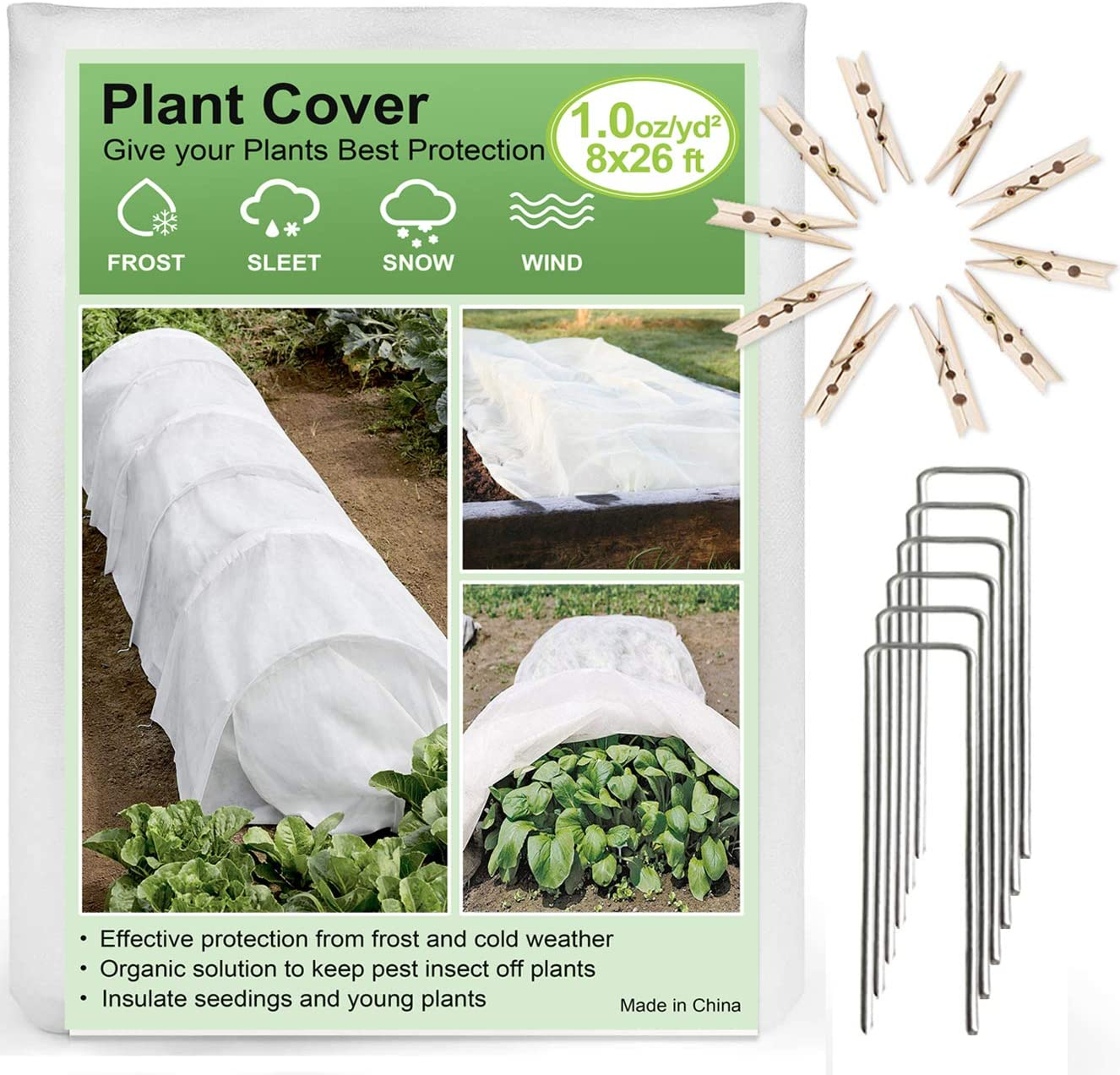 Plant Covers Freeze Protection, Reusable Garden Floating Row Cover for Plants & Vegetables in Winter (8FTx26FT, 1oz/yd² with 6 PCS Garden Stakes and 10 PCS wood clips)
