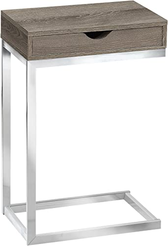 Monarch Specialties C Accent Table with Drawer-Chrome Metal Base, Dark Taupe