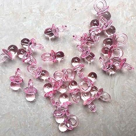 50 minichupetes de vidrio acrílico transparente en miniatura para decoración de mesas en baby shower, acrílico, Rosa, Medium