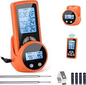 Wireless Meat Thermometer,VanSmaGo Remote Digital Instant Read Safe Cooking Food Grill Oven Thermometers with Dual Probes,Alert & Timer,328FT Range for Smoker Grilling BBQ& Kitchen