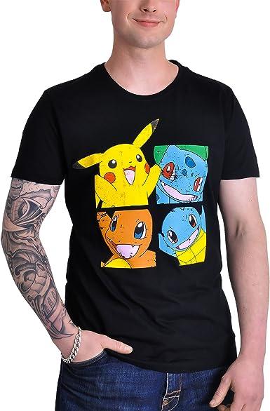 Pokémon - Pikachu & Friends Hombres Camiseta - Negro - Tamaño Small: Amazon.es: Ropa y accesorios