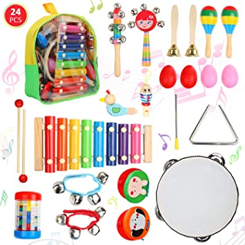 24pcs Toddlers Music Instrument Set for Kids /& Baby Percussion Toys Band Rhythm