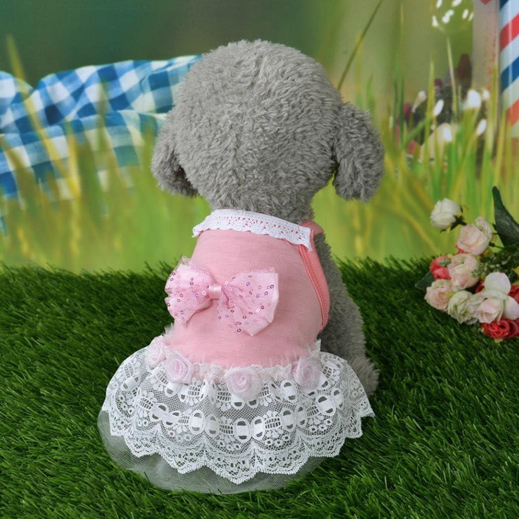 Hmeng Hund Katze Bogen Tutu Kleid Spitze Rock Haustier Welpen Hund Prinzessin Kost/üm Kleidung Kleidung