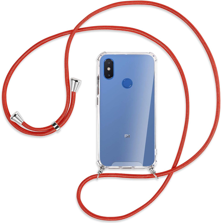 mtb More Energy® Collar Smartphone para Xiaomi Mi 8 Pro (6.21'') - Rojo - Funda Protectora ponible - Carcasa Anti Shock con Cuerda