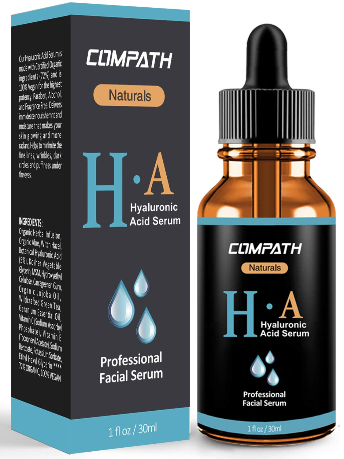 Hyaluronic Acid Serum, COMPATH Anti-Aging & Moisturizing Hyaluronic Acid Serum with Natural Vitamin C, Vitamin E & Botanical Hyaluronic Acid for Dry, Dull Skin, Acne, Wrinkles and Spots - 1 fl oz