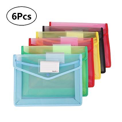 Cartera de plástico para archivos, 6 unidades, tamaño A4, con ranuras para tarjetas
