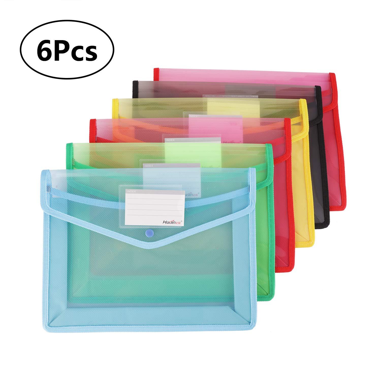 Plastic File Wallet, Fashionclubs 6pcs A4 File
