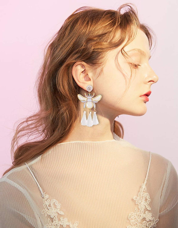 BSJELL Beaded Bee Dangle Earrings for Women Bohemian Statement Tassel Fringe Chandelier Drop Earrings Bead Ear Disc Stud Cute Animal Insect Earrings for Girls