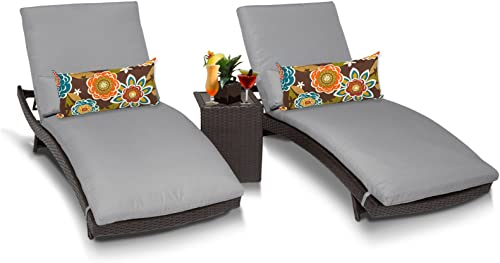 TK Classics Bali Outdoor Wicker Patio Chaise Furniture with Side Table, Set of 2, Grey