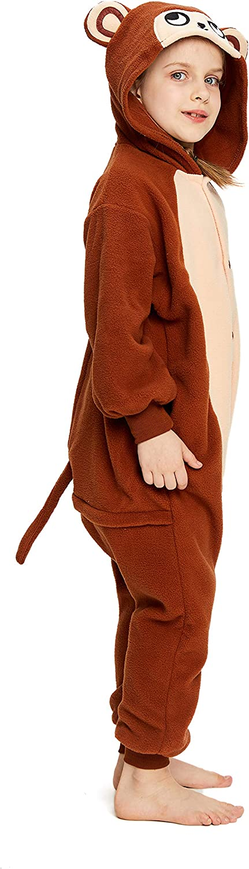 NEWCOSPLAY Unisex Children Brown Monkey Pajamas Halloween Costume