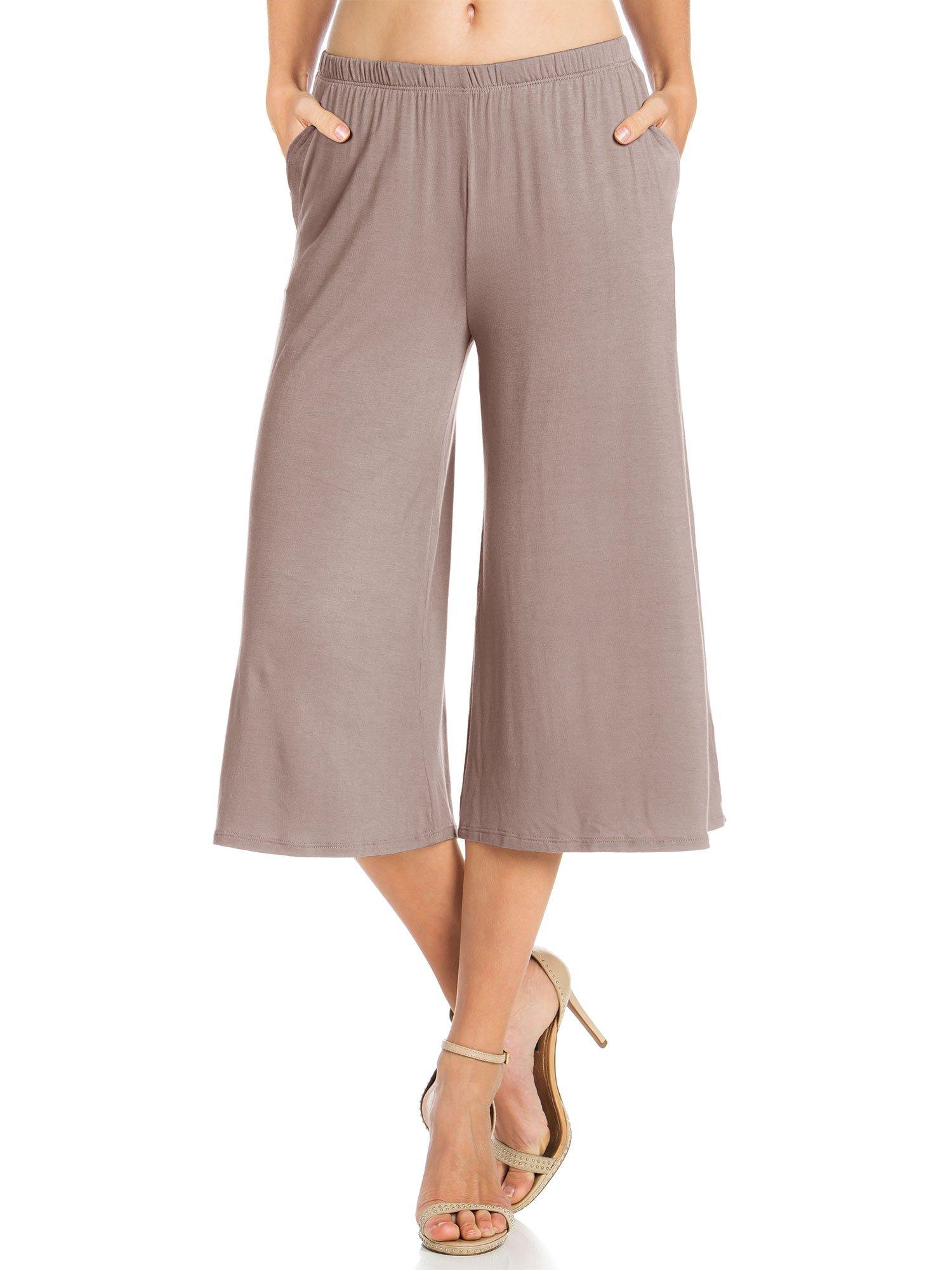 Fashion California Womens 1 Pack Elastic Waist Jersey Culottes Capri Pocket Pants (XXXXX-Large, Mocha)