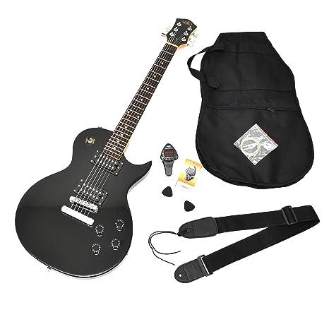 Guitarra eléctrica en negro con funda y cuerdas de repuesto ...