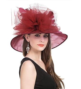 2d6d423bcebb6 Saferin Women s Royal Fascinator Organza Mesh Church Kentucky Derby Wedding  Party Hat (Burgundy Feather Mesh