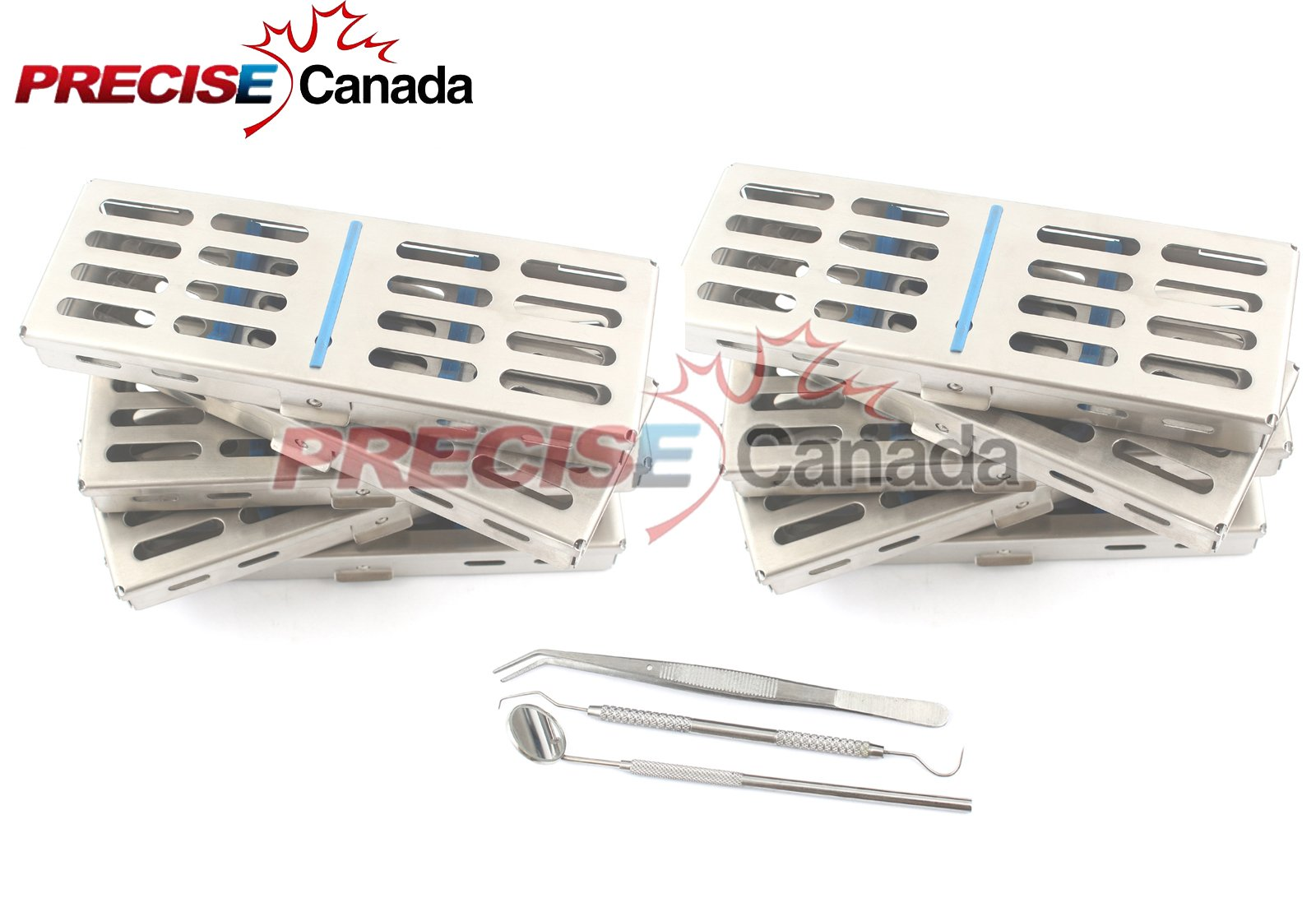 PRECISE CANADA: NEW SET OF 10 EACH GERMAN GRADE DENTAL AUTOCLAVE STERILIZATION CASSETTE RACK BOX TRAY FOR 5 INSTRUMENT+3 PIECE DENTAL SET FREE NEW