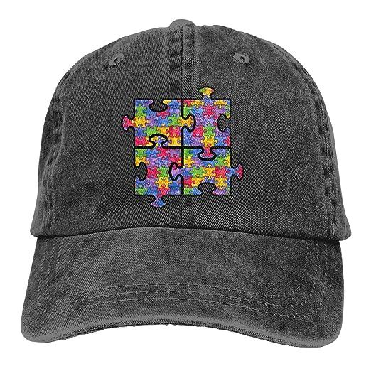 6b13d8b753c Keerqingqu Unisex Adjustable Denim Jeans Baseball Caps Puzzle Piece Autism  Symbol-1 Trucker Cap Black