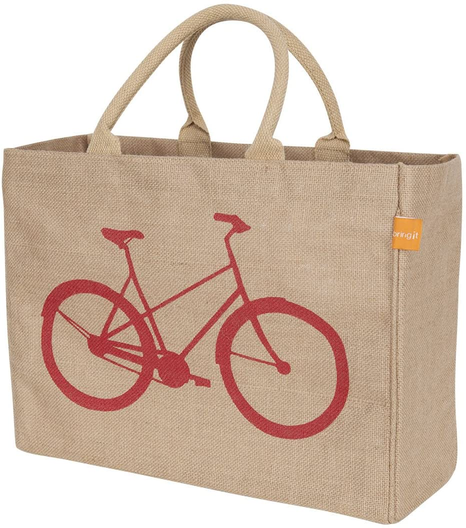 "KAF Home Jute Market Tote Bag with Bicycle Print, Durable Handle, Reinforced Bottom and Interior Zipper Pocket, Generous capacity, 12.5"" tall x 17"" wide x 7"" deep"