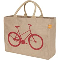 KAF Home Jute Market Tote Bag with Bicycle Print, Durable Handle, Reinforced Bottom and Interior Zipper Pocket, Generous…