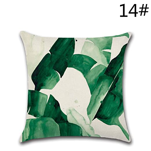 YY Club Funda para Cojines, diseño de Hojas Verdes … (18)