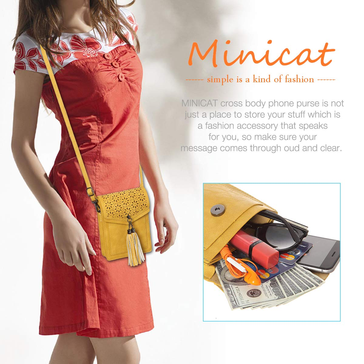 MINICAT Fringe Thicher Pocket Small Crossbody Bags Cell Phone Purse Wallet For Women With Credit Card Slots(Yellow) by MINICAT (Image #7)