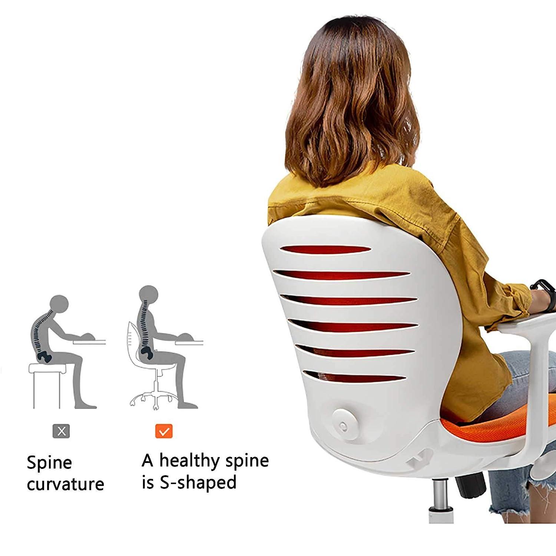 GAOPANG kontorsskrivbordsstol mitt på baksidan nätstol armlös verkställande stol ergonomisk svängbar stol för datorspel, sitthöjd: 42–52 cm gRÖN