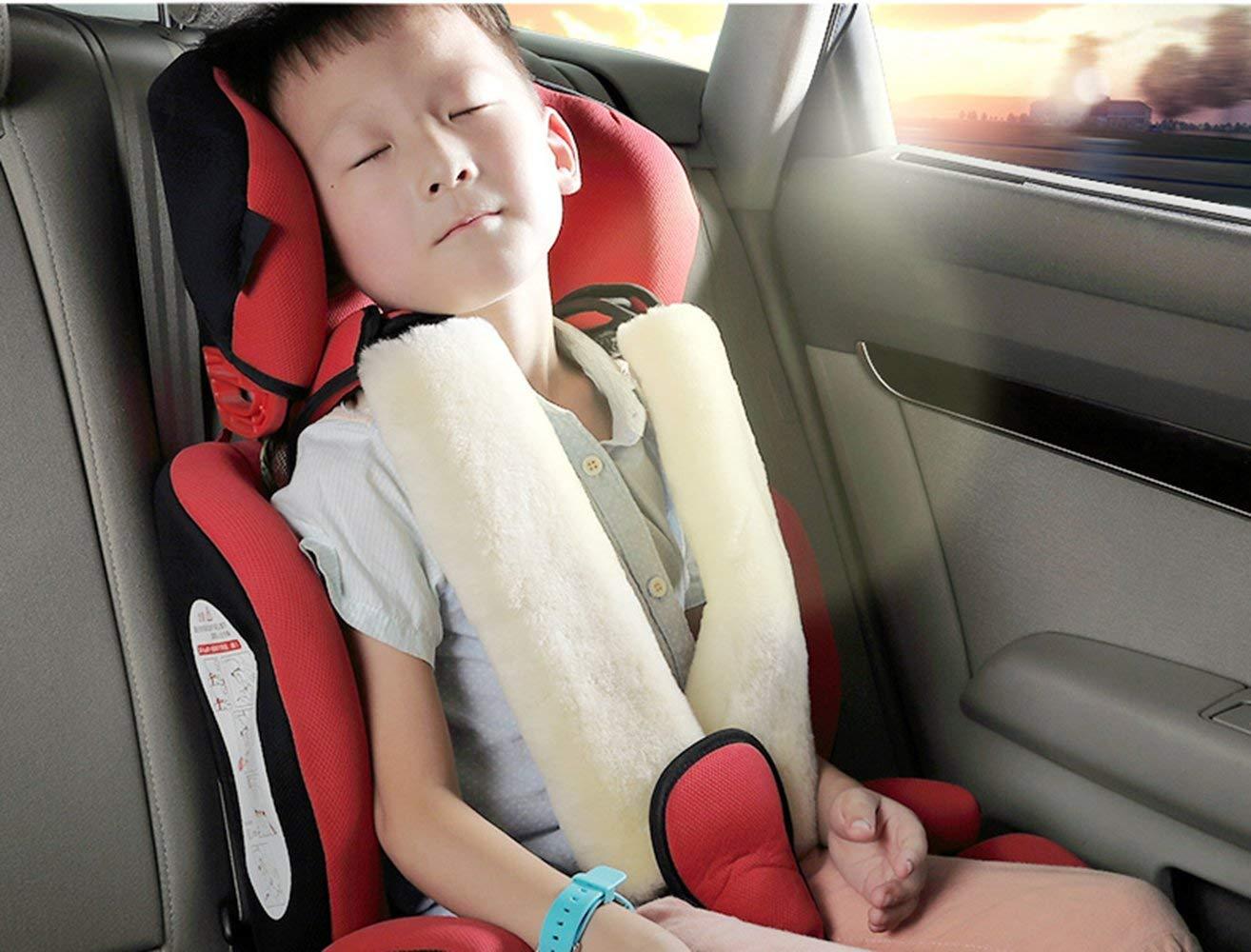 Almohadillas Para Cintur/ón de Seguridad Lana Genuina Australiana de Piel de Oveja Protectores de Coche Hombro Protector Cinturon Seguridad Infantil