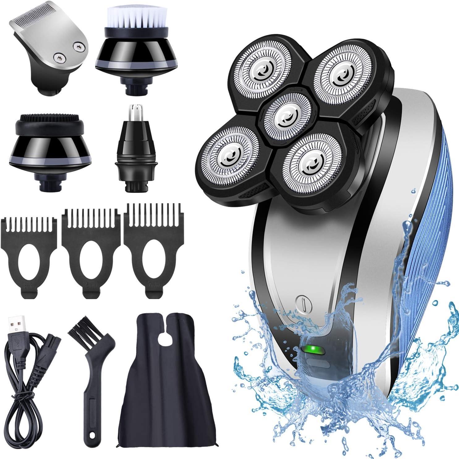 Hangrui Afeitadora Eléctrica,Máquina de Afeitar Eléctrica para Hombres Impermeable,Seco y Húmedo Afeitadora Rotativa con 5 Cabezas Flotantes,Recortadora Barba,Calva Cortapelos(USB Recargable)